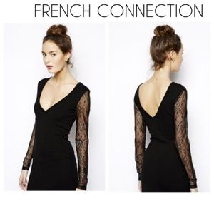 FRENCH CONNECTION deep V-neck lace blouse
